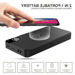 300000mAh Qi Wireless Charger Stand Power Bank USB LCD Type-