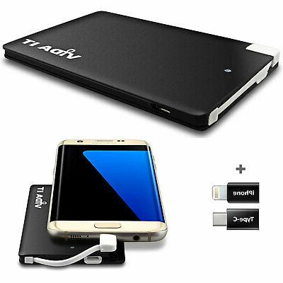Slim Bank Mobile Battery Built in USB Cable
